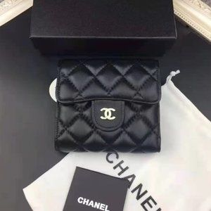 Chanel Compact Wallet Black Lambskin Wallet
